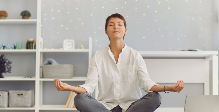 woman meditating as she addresses her mental health issues and attended one of the mental health facilities in Chicago - Chicago Rehab Center