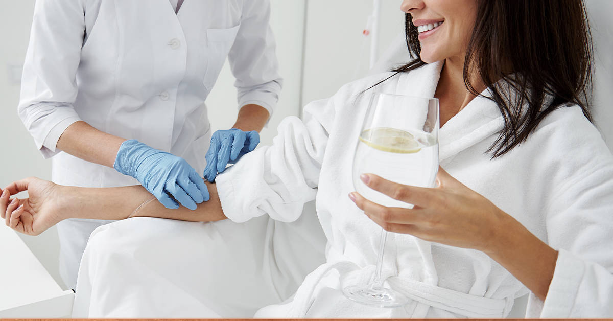 Female rehab patient undergoing IV Vitamin Therapy at CRC's Rehab Center in Chicago.